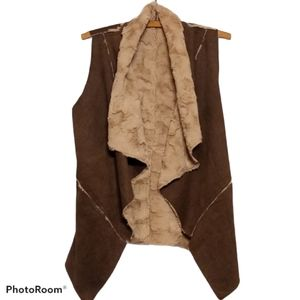 Double Zero Faux Fur Vest - Dark Brown & Tan
